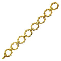 French Vintage Textured Yellow Gold Link Bracelet