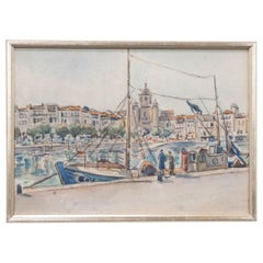 French Vintage Watercolor on Paper