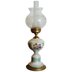 French Vintage White and Turquoise Porcelain Table Lamp