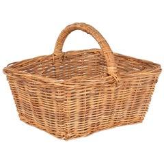 French Vintage Wicker Basket, 20th Century