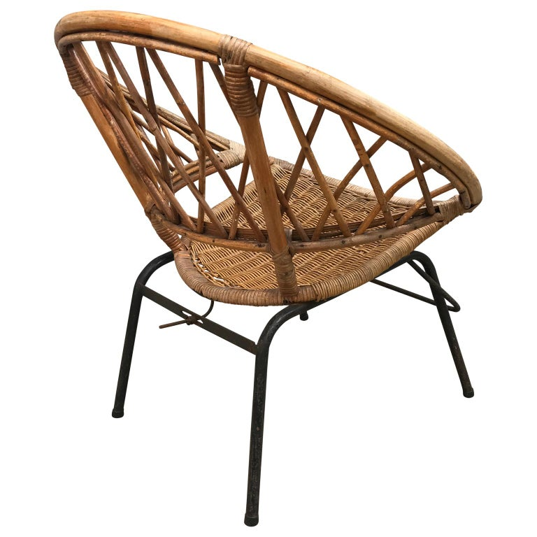 French Vintage Wicker Loop Chair For Sale 4