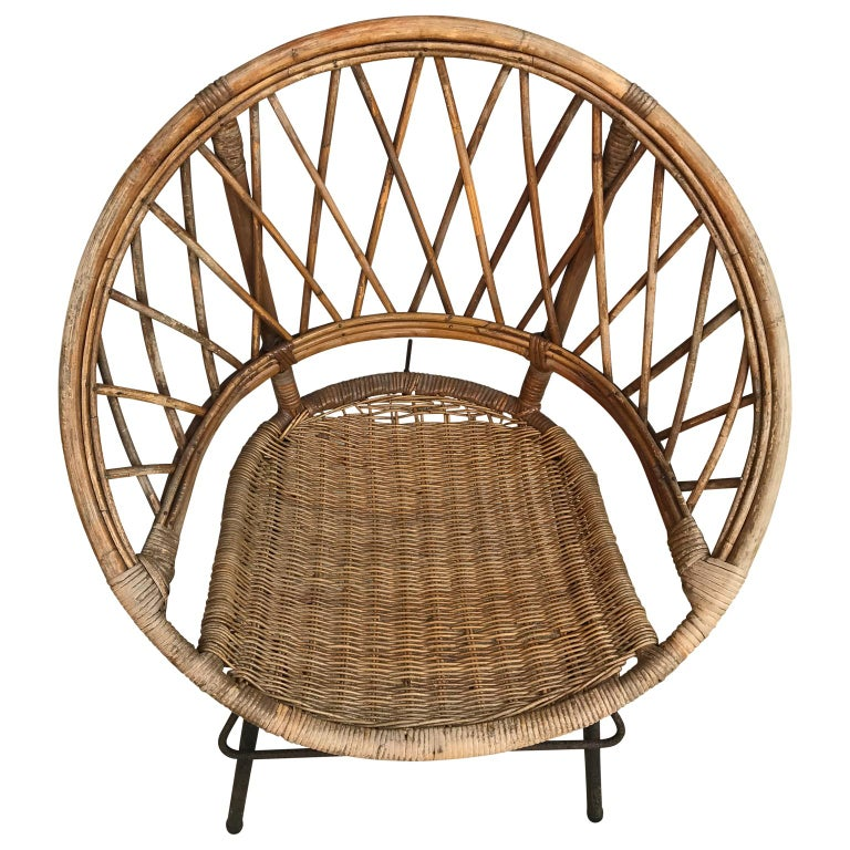 Old French wicker chair on black metal stand  $95 flat rate front door delivery includes Washington DC metro, Baltimore and Philadelphia