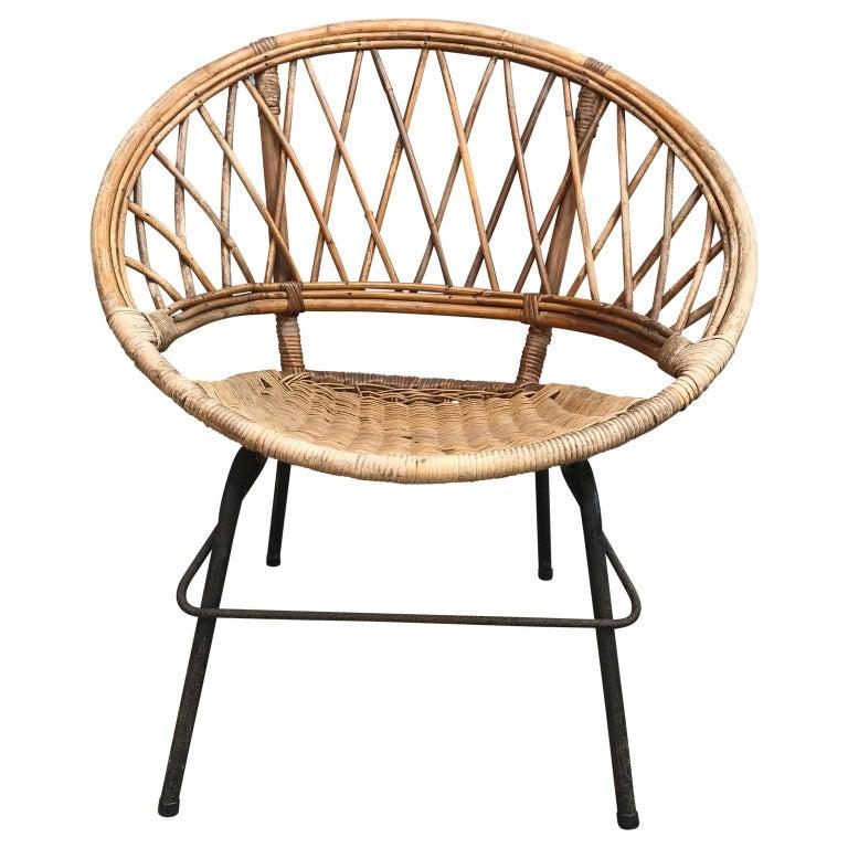 Metal French Vintage Wicker Loop Chair For Sale