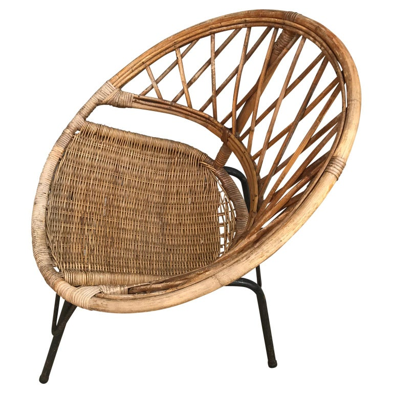 French Vintage Wicker Loop Chair For Sale 1