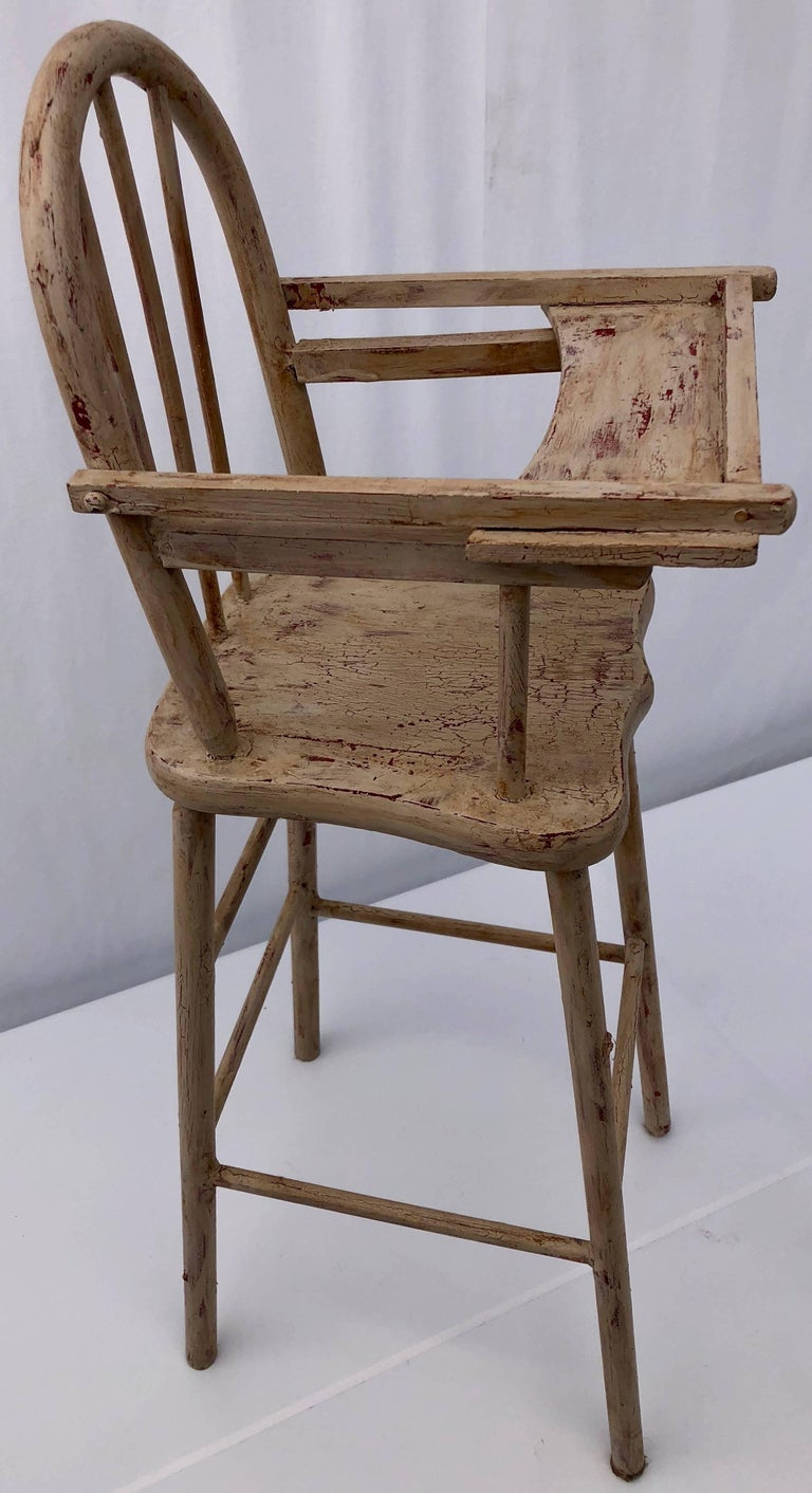 Marvelous French Vintage Wooden Doll High Chair With Rounded Top Articulated Tray 1940S Ocoug Best Dining Table And Chair Ideas Images Ocougorg