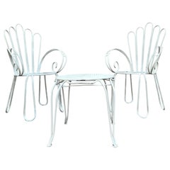 French Vintage Wrought Iron White Painting Set of Garden Bistro Outdoor