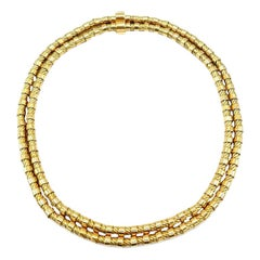French Vintage Yellow Gold Double Strand Rope Chain Necklace