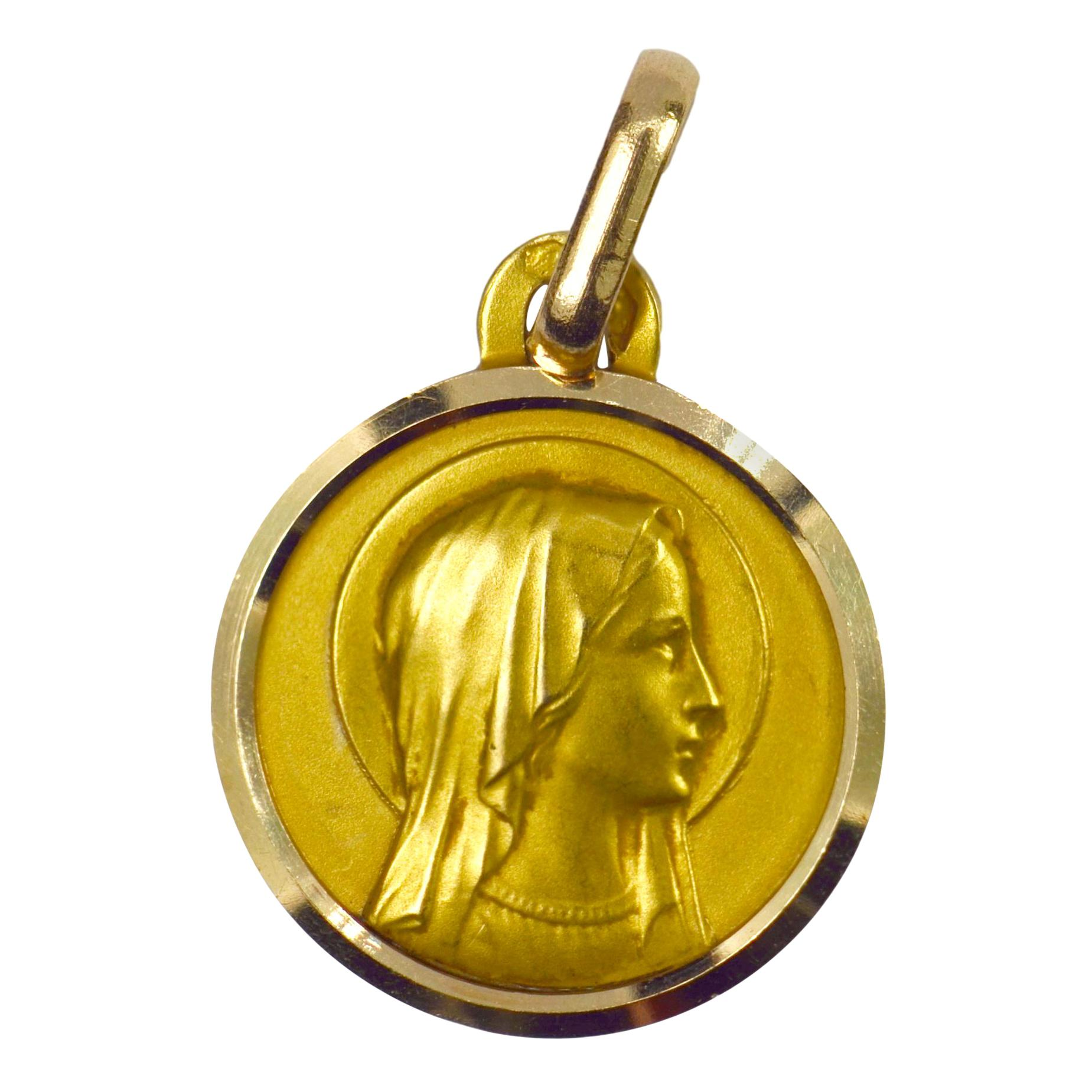 French Virgin Mary 18k Yellow Gold Charm Pendant