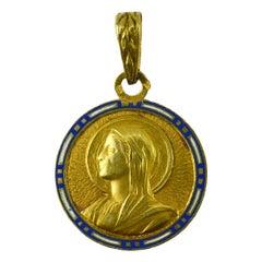 French Virgin Mary 18K Yellow Gold Enamel Charm Pendant