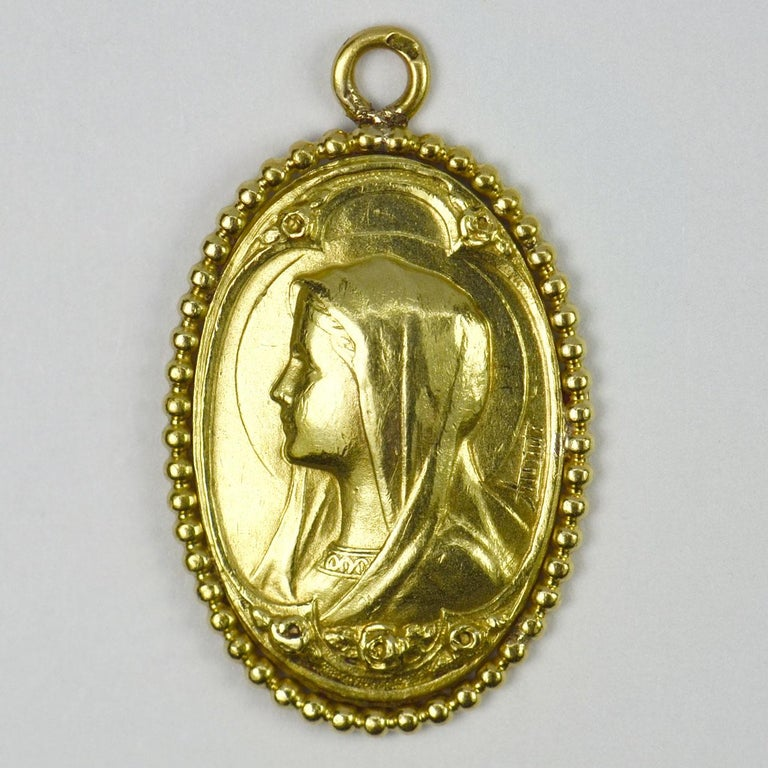 Women's 0French Virgin Mary 18k Yellow Gold Medal Pendant For Sale