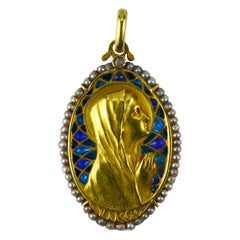 French Virgin Mary Plique-A-Jour Enamel Pearl Diamond 18k Yellow Gold Pendant