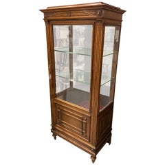 French Vitrine Cabinet, Glass Door Walnut, Rosewood with Ormolu Mounts