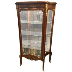 French Vitrine/China Cabinet, 19th Century with Bronze Dore Mounts, Mirror Back