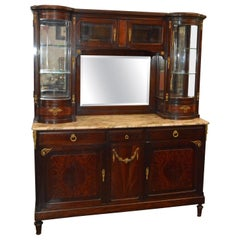 French Vitrine with Marble-Top Mahogany Hand Carved, 19th Century