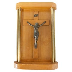 French Wall Crucifix Art Deco Style with Brass Column Midcentury