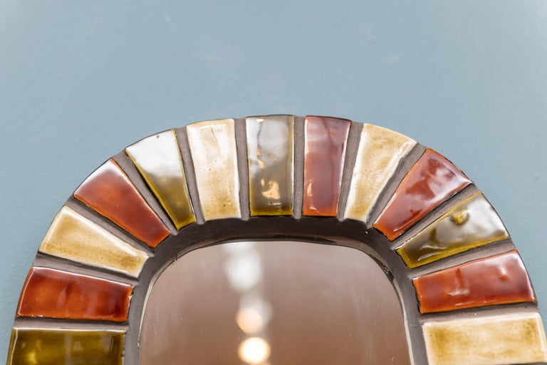French ceramic wall mirror in the style of Roger Capron, France.
