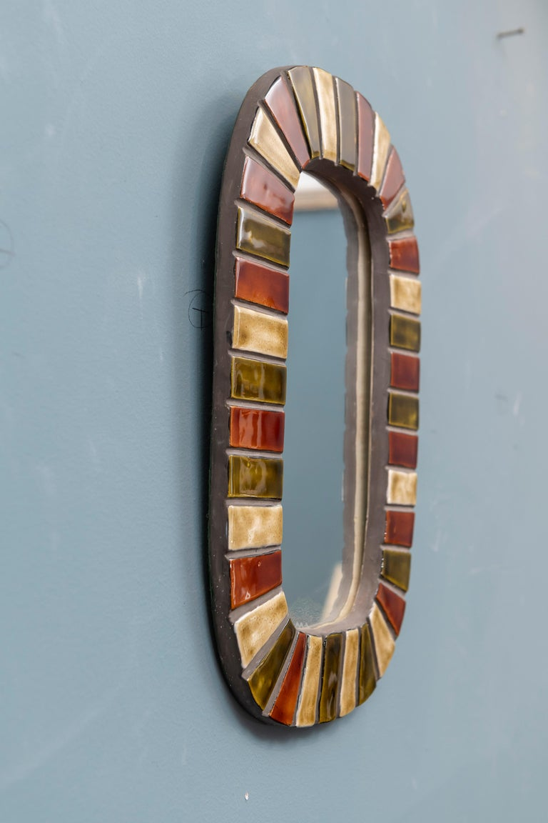Mid-Century Modern French Wall Mirror after Roger Capron For Sale