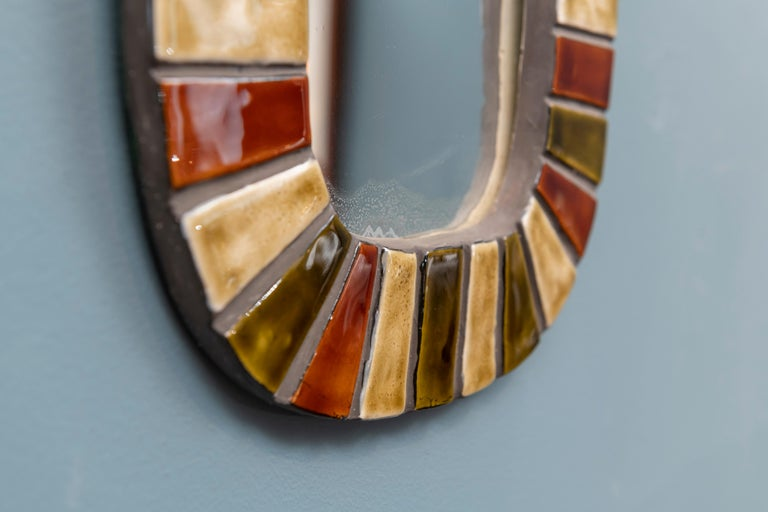 French Wall Mirror after Roger Capron In Good Condition For Sale In San Francisco, CA