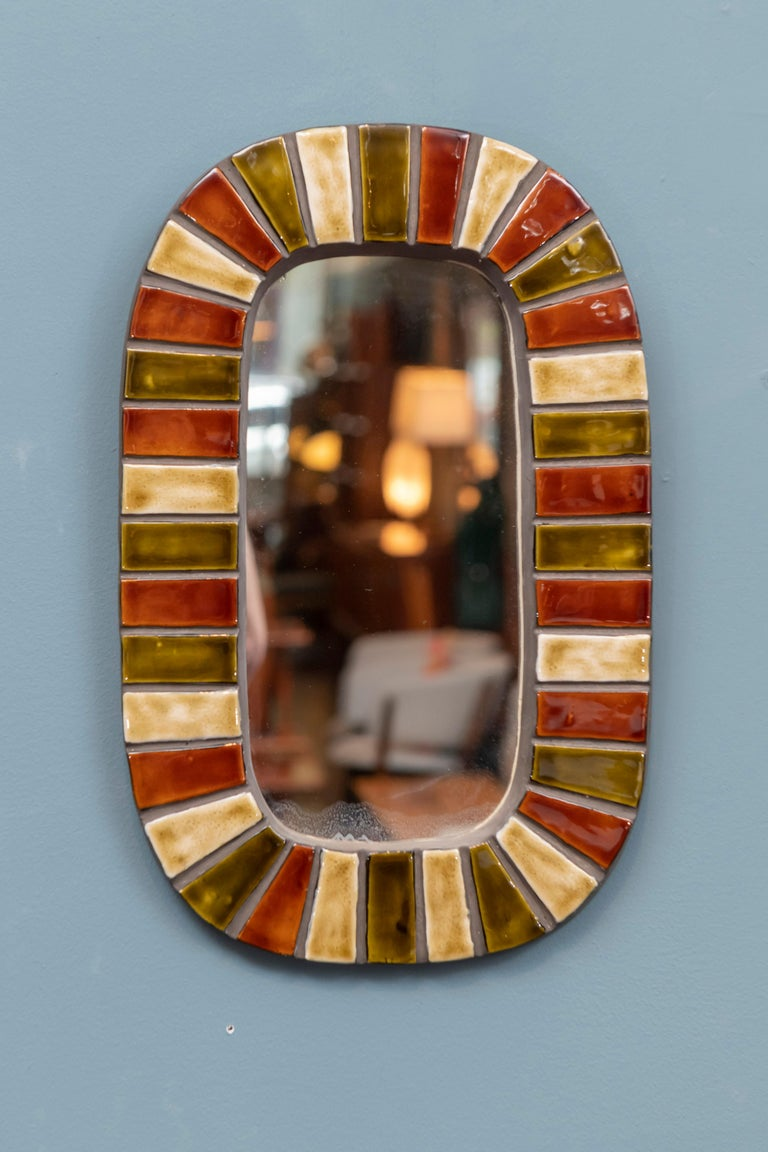 Mid-20th Century French Wall Mirror after Roger Capron For Sale