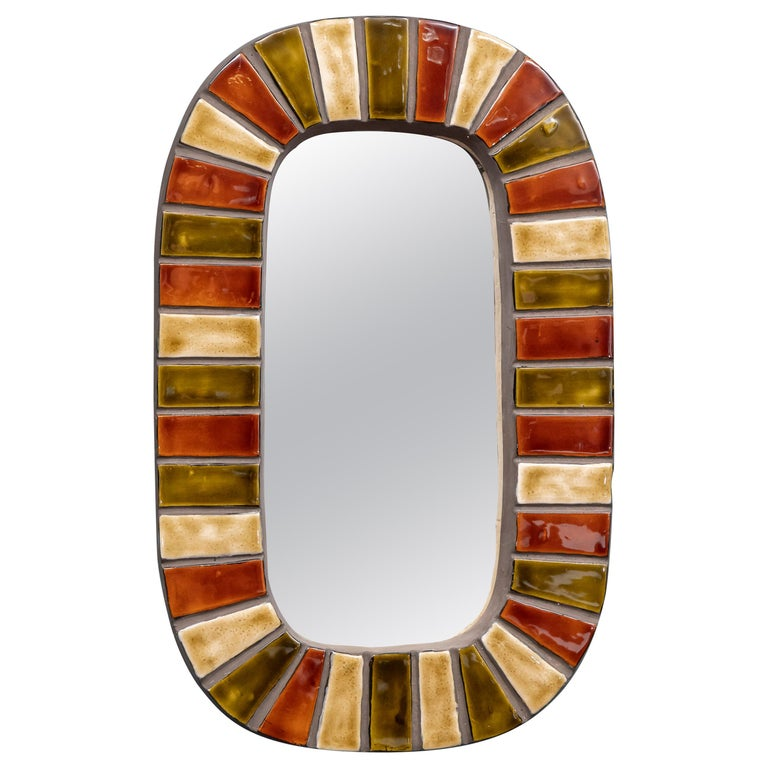 French Wall Mirror after Roger Capron For Sale