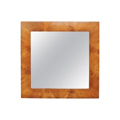 French Wall Mirror from the 1920s with Burl Walnut Veneered Frame