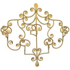 French Wall Mounted Ornament Gilt Metal Coat Rack Hanger