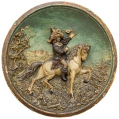 French Wall Plate Plaque Relief Hunter on Horse