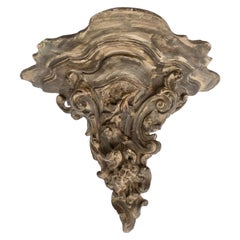 French Wall Sconce in Terra Cotta with Floral and Scroll Design, Mid-1900s