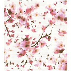 French Wallpaper by Elitis 'Kandy' Sakura Cherry Blossom Floral Watercolor Silk