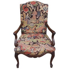 French Walnut Acanthus Armchair with Decorative Figural Needlepoint, Circa 1840