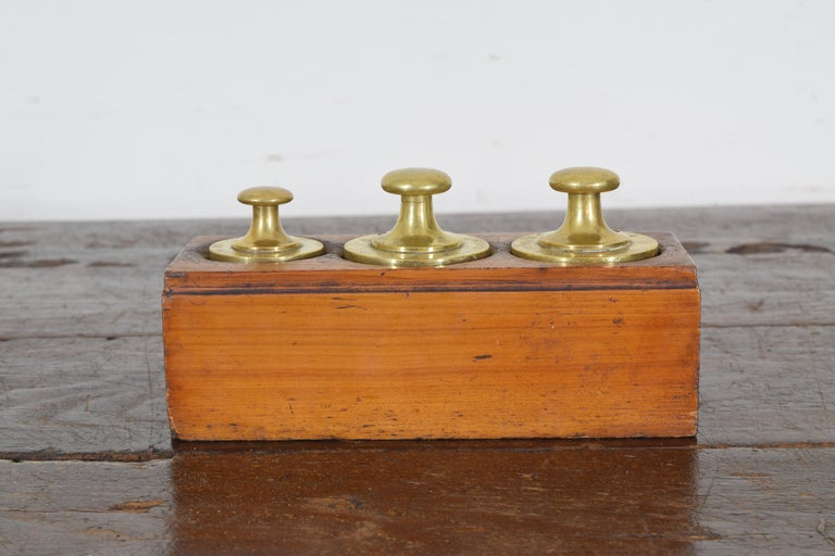 French Walnut and Brass Kilogramme Scale and Weights, Mid-19th Century For Sale 8