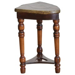 French Walnut and Mixed Woods Shield Form Side Table, Mid-19th Century