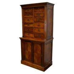 French Walnut Apothecary Cabinet / Filing Cabinet, 1920s