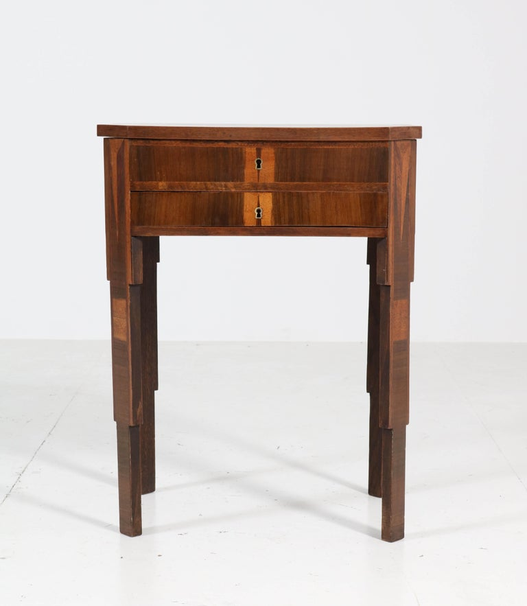 Wonderful Art Deco sewing table. Striking French design from the 1930s. Walnut with satinwood inlay. In good condition with minor wear consistent with age and use, preserving a beautiful patina.