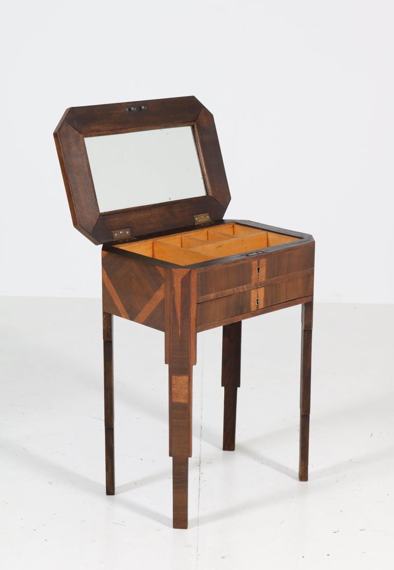 Mid-20th Century French Walnut Art Deco Sewing Table with Inlay, 1930s For Sale