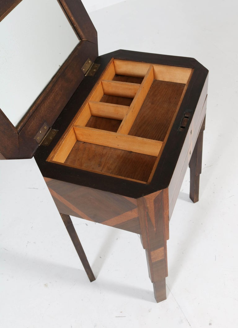 Satinwood French Walnut Art Deco Sewing Table with Inlay, 1930s For Sale
