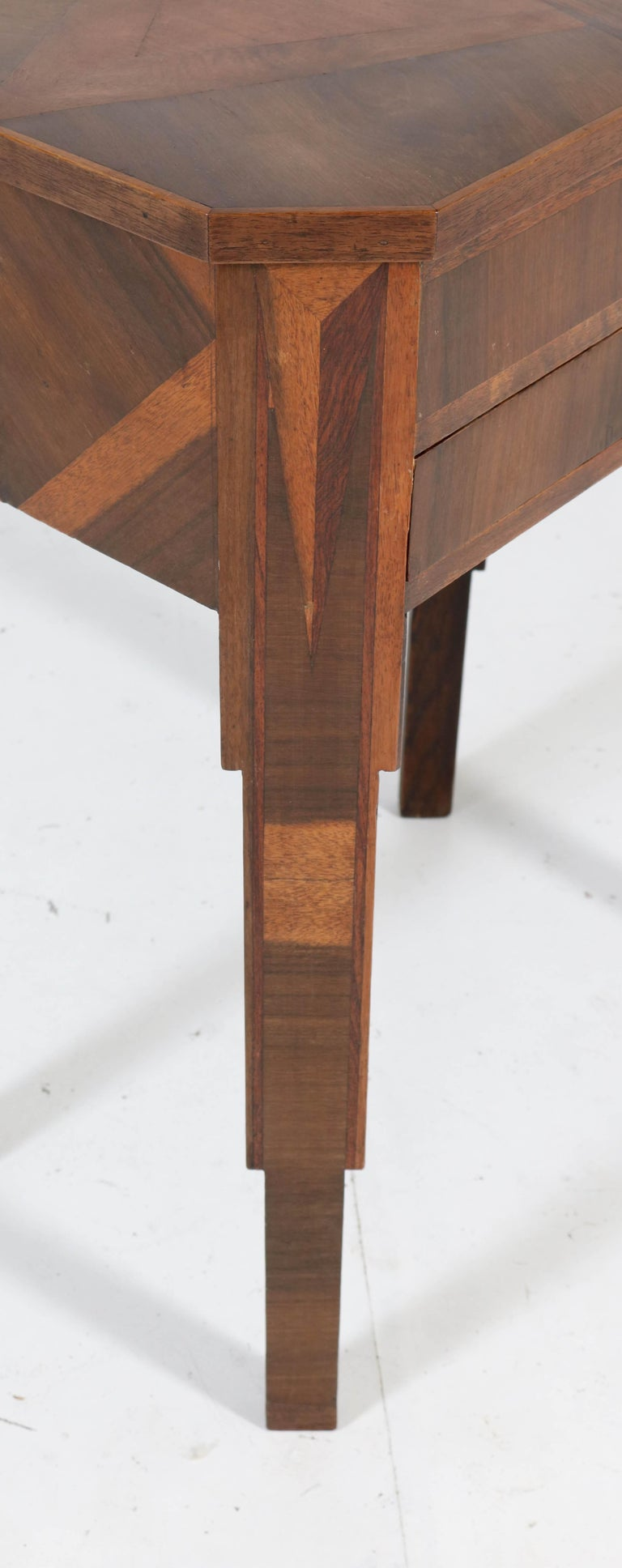 French Walnut Art Deco Sewing Table with Inlay, 1930s For Sale 3