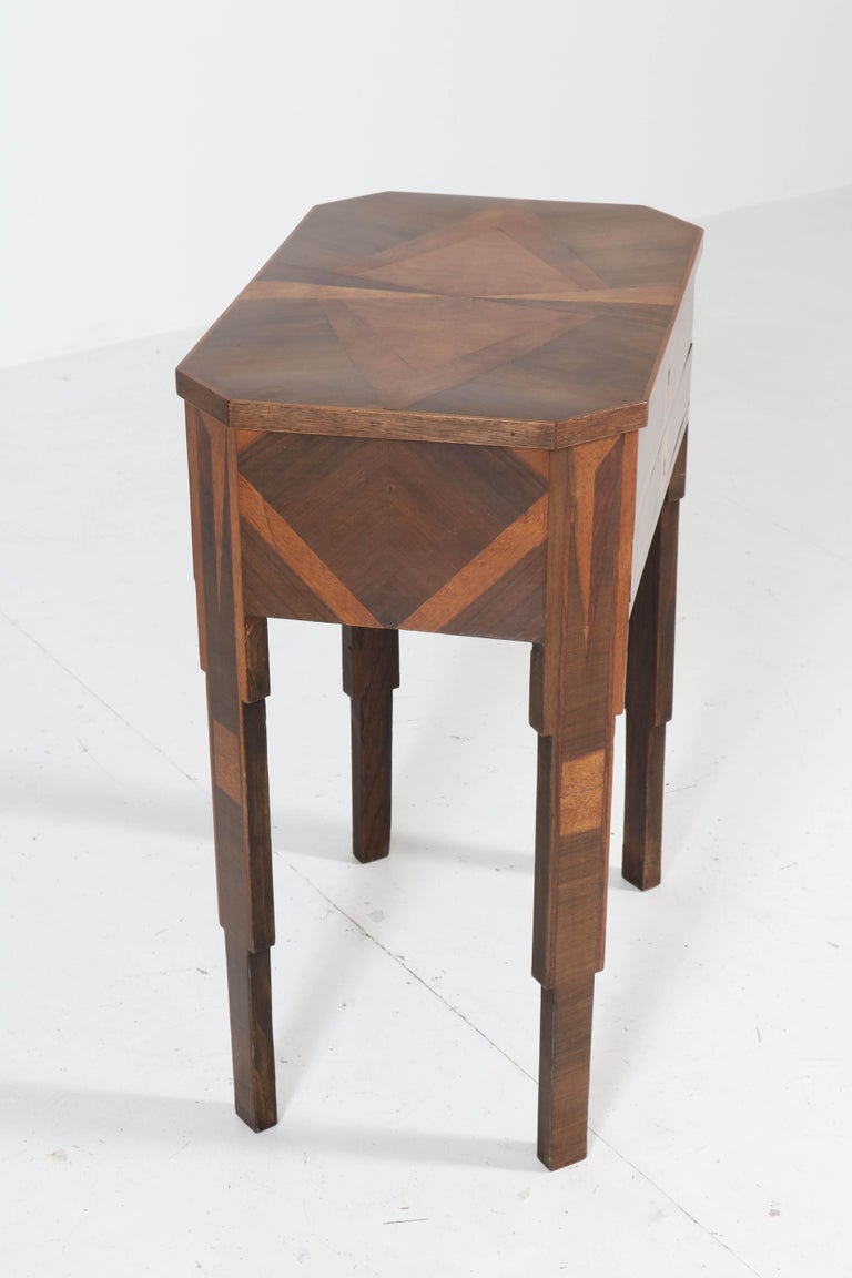 French Walnut Art Deco Sewing Table with Inlay, 1930s For Sale 4