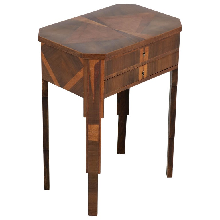 French Walnut Art Deco Sewing Table with Inlay, 1930s For Sale