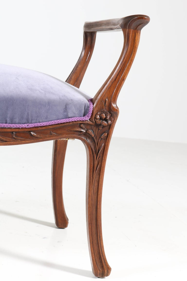 Velvet French Walnut Art Nouveau Bench or Stool with Armrests, 1900s For Sale