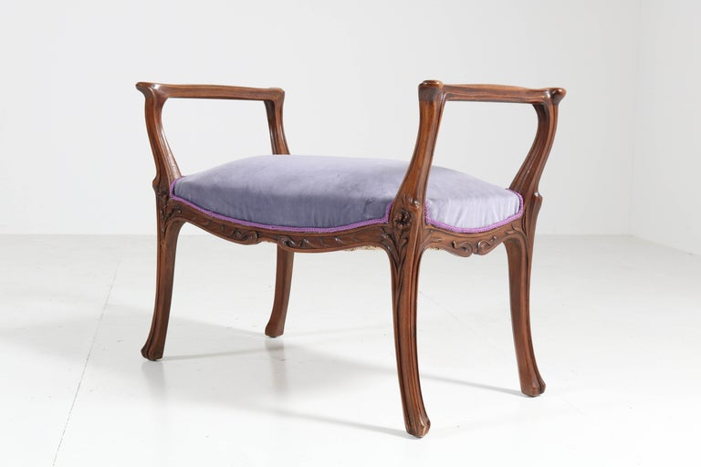 French Walnut Art Nouveau Bench or Stool with Armrests, 1900s For Sale 1