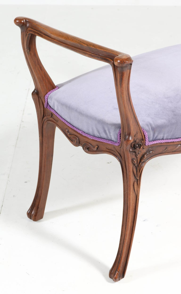French Walnut Art Nouveau Bench or Stool with Armrests, 1900s For Sale 2