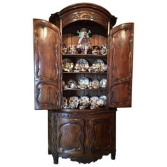 French Walnut Buffet de Corps or Cabinet with Two Doors, 18th Century
