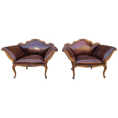 French Walnut Carved Leather Armchairs, Pair