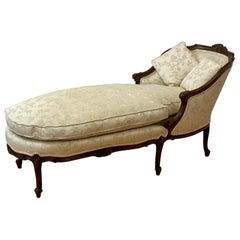 French Walnut Chaise Lounge, C.1920