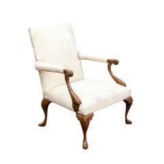 French Walnut Damask Armchair