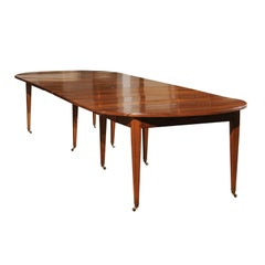 French Walnut Dining Room Extension Table with Five Leaves, Late 19th Century