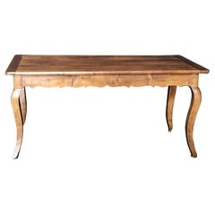 French Walnut Dining Table or Roomy Desk with Scalloped Apron