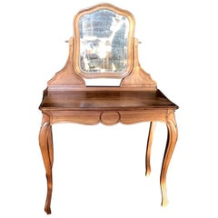 French Walnut Dressing Table or Vanity with Beveled Mirror