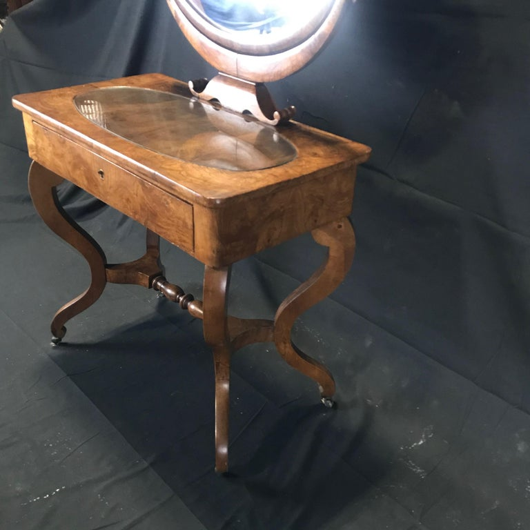 French Walnut Dressing Table with Carved Swan Neck Sides For Sale 7